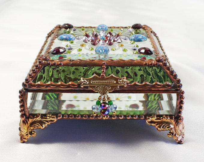 Jewel Encrusted, Stained Glass, Bridal Gift, Stained Glass, Vintage Jewels, Swarovski Crystals, Made in USA, Faberge Style, trinket box