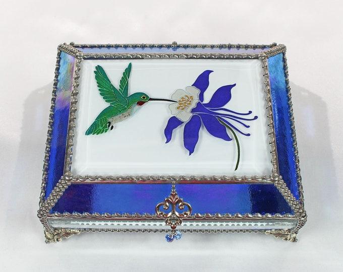Hummingbird, Columbine, Jewelry Box, Glass Art, Faberge Style, Beveled Glass, Stained Glass