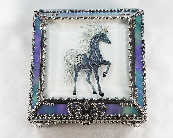 Unicorn, Horse, Equine, Treasure Box, Appaloosa, stained glass box, stained glass, display box, jewelry box, , souvenir, mystic