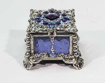 Jewel Encrusted Fairy Box, Stained Glass Box, Ring Box, Presentation Box, Wedding Ring Box, Keepsake Box, Glass Jewels, Engagement Ring Box