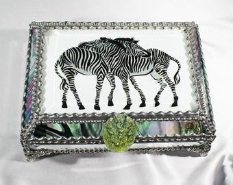 Zebra Etched Glass Jewelry Box, stained glass, Safari, Africa, Zebras, Friends, Backscratch