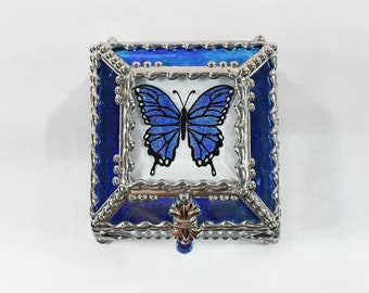 Butterfly, Jewelry Box, Glass Art,, Faberge Style, Beveled Glass, Stained Glass
