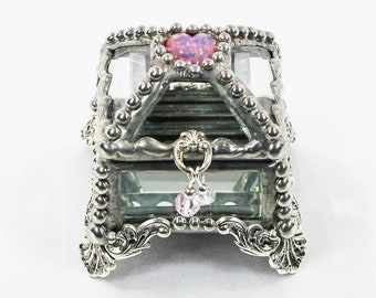 Birth Stone, Ring Box, Engagement Ring Box, Presentation Box, Wedding Box, Faberge Style, Beveled