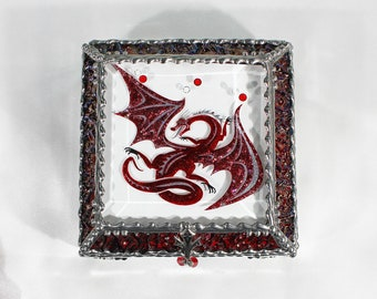 Dragon, stained glass box, stained glass, display box, jewelry box, souvenir, trinket Box