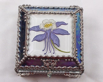 Columbine, Etched, Hand Painted, Flower,Stained Glass, Keepsake Box,Jewelry Box