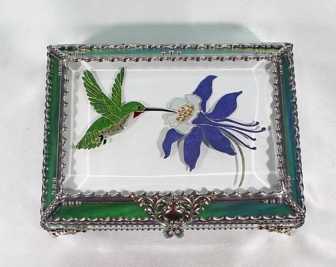 Hummingbird Jewelry Box, Faberge Style, Trinket Box, Columbine