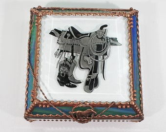 Saddle, stained glass box, treasure box, trinket box, keepsake box, Cowboy, Western, Rodeo