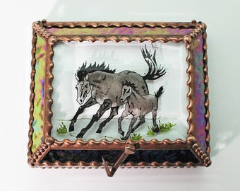 Horse Mare and Foal - Treasure Box