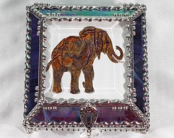 Elephant, Hand Painted, Stained Glass, Keepsake Box,Jewelry Box, Faberge Style, Treasure Box