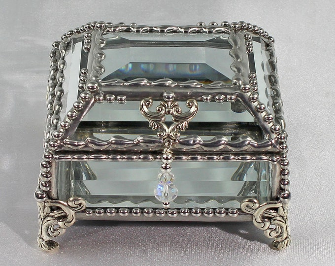 Featured listing image: Crystal Box, Wedding Display, stained glass box, wedding ring presentation , BridesMaid, jewelry box,  souvenir keepsake box, Display  Box