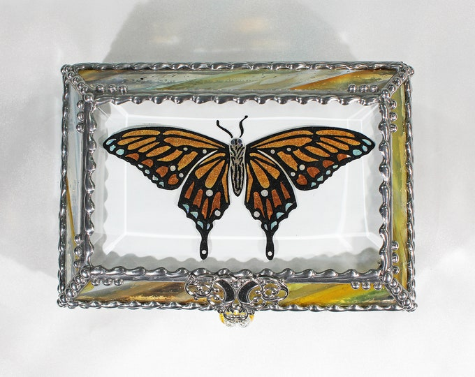 Butterfly, Jewelry Box, Monarch, Glass Art,, Faberge Style, Beveled Glass, Stained Glass