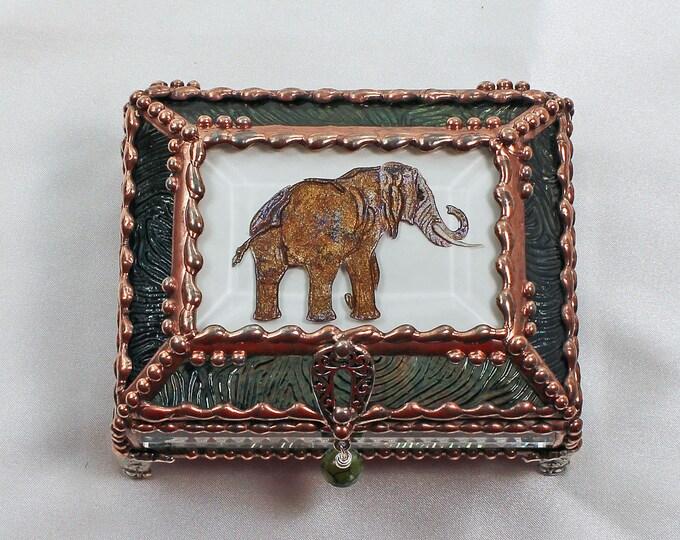 Elephant, Jewelry Box, Treasure Box, Gift Box, Trinket Box, Faberge Style, Hand Painted