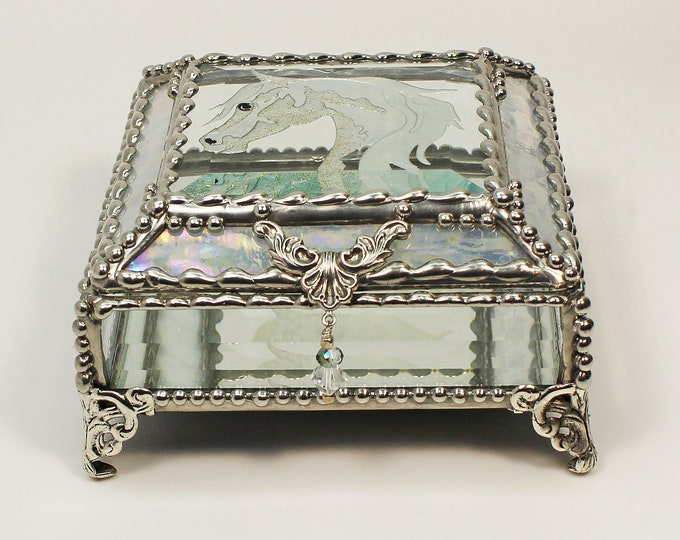 Horse, Equine Etched hand painted Glass Treasure Box, Jewelry Box, Trinket Box, Glass Box, Treasure Box, Faberge Style