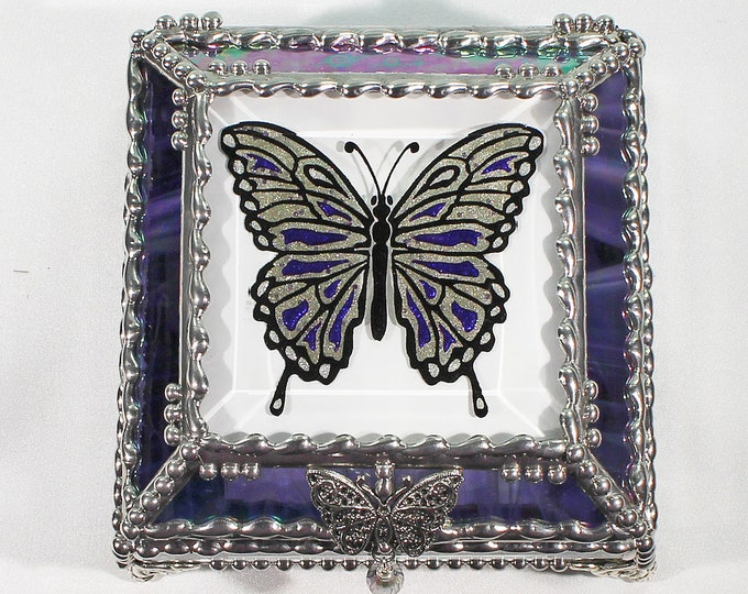 Etched, Hand Painted, Butterfly,Stained Glass, Keepsake Box,Jewelry Box
