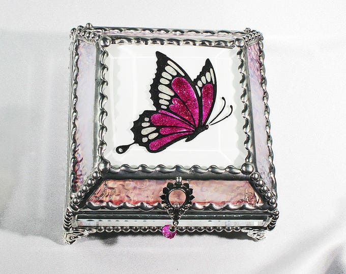 Etched, Hand Painted, Butterfly, Stained Glass, Beveled Glass, Keepsake Box,Jewelry Box, Faberge Style, Made in USA