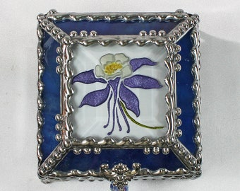 Columbine, Hand Painted, Glass Box, Stained Glass