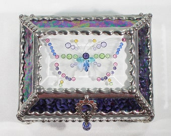 Jewel Encrusted Butterfly Treasure Box, jewelry box, Stained Glass, Faberge Style