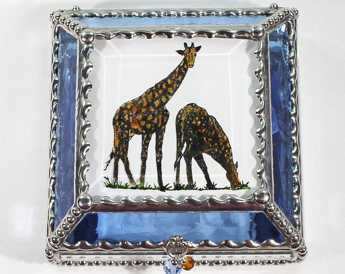 Giraffe, Hand Painted, Stained Glass, Keepsake Box,Jewelry Box, Faberge Style, Treasure Box
