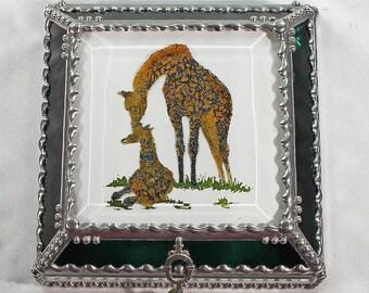 Giraffe, Hand Painted, Stained Glass, Keepsake Box,Jewelry Box, Faberge Style, Treasure Box
