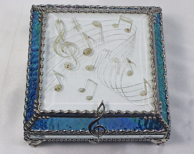 Musical Note, Hand Painted, Stained Glass Box, Trinket Box, , Etched, Faberge Style