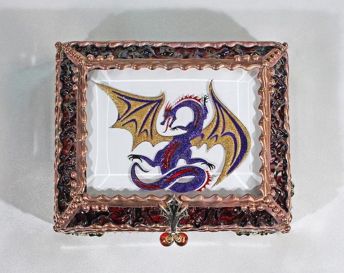 Dragon, Stained Glass, Keepsake Box,Jewelry Box, Faberge Style, Treasure Box