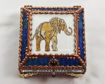 Elephant, Jewelry Box, Treasure Box, Gift Box, Trinket Box, Faberge Style, Hand Painted