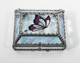 Butterfly Carved Hand Painted Glass Jewelry Box - Treasure Box
