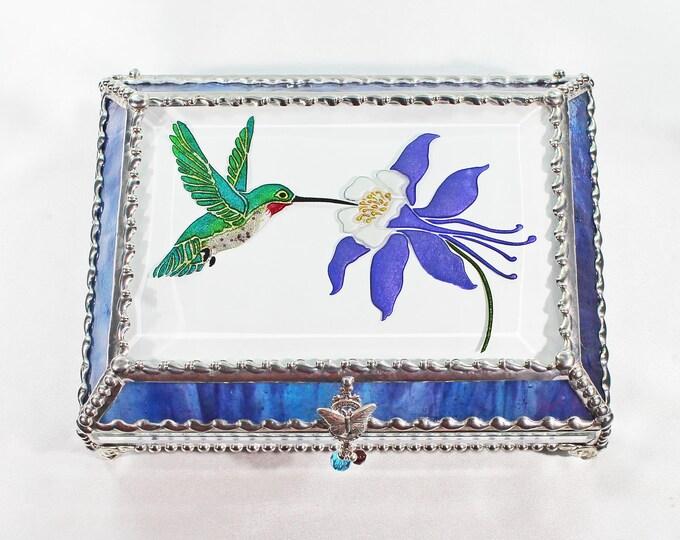 Hummingbird, Columbine, Hand Painted, Stained Glass, Keepsake Box,Jewelry Box, Faberge Style, Treasure Box