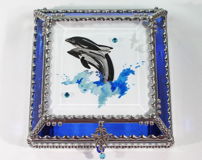 Dolphins, Hand Painted, Stained Glass, Keepsake Box,Jewelry Box, Faberge Style, Treasure Box