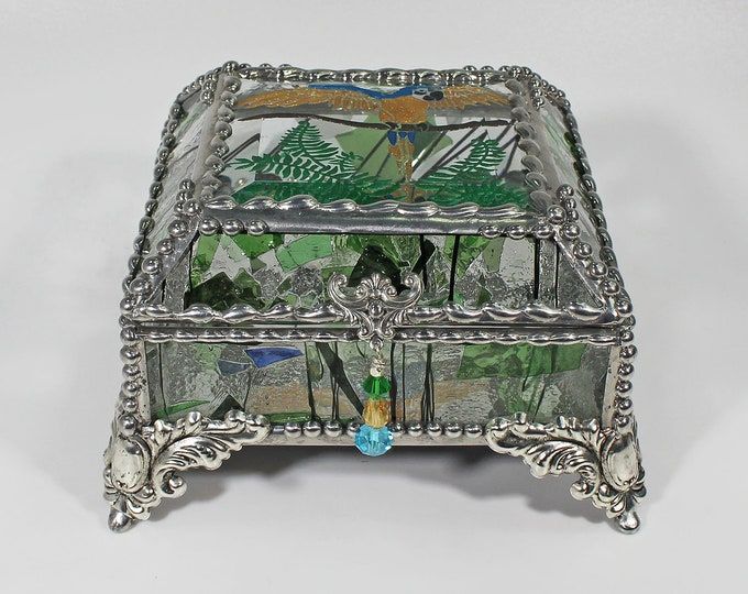 Parrot Carved Glass Jewelry Treasure Box -  Faberge Style