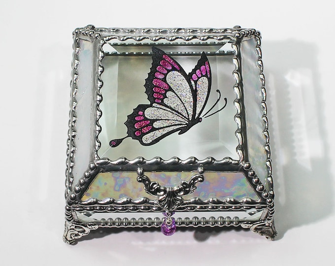 Etched Butterfly Hand Painted Glass Jewelry Box Hand crafted, Gift Box