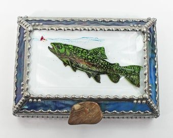 Rainbow Trout Stained Glass Box