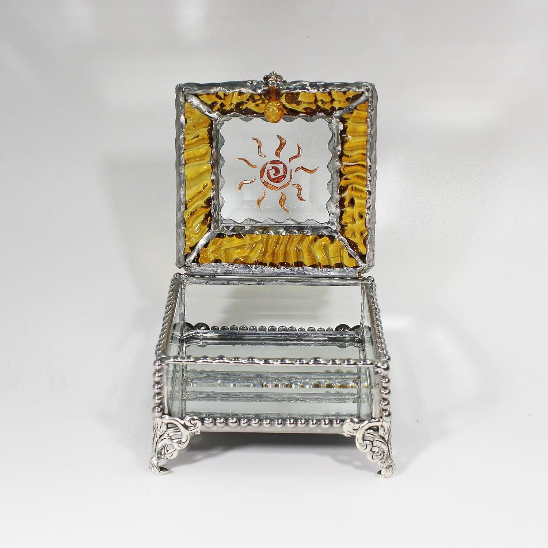 Jewelry Box Glass Box Native American Treasure Box Trinket Box Sun Fetish Etched hand painted Glass Treasure Box Faberge Style