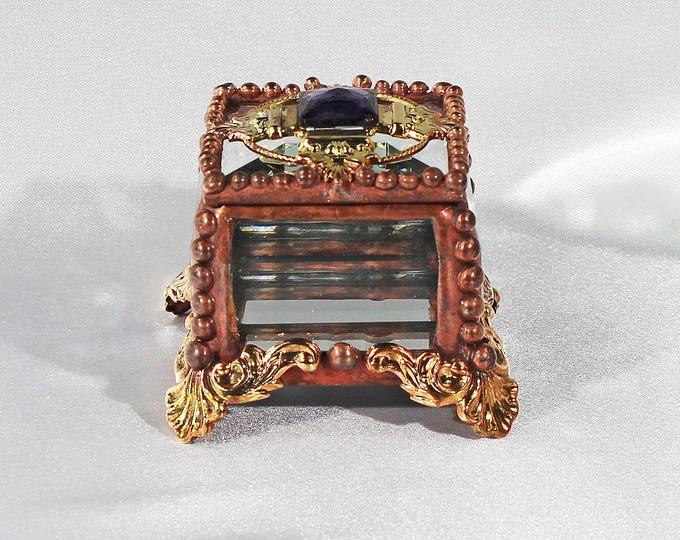 Fairy Box Center Piece - Glass Jewel, Stained Glass Box, Wedding Ring Box, Engagement Ring Box, Birth Stone Box