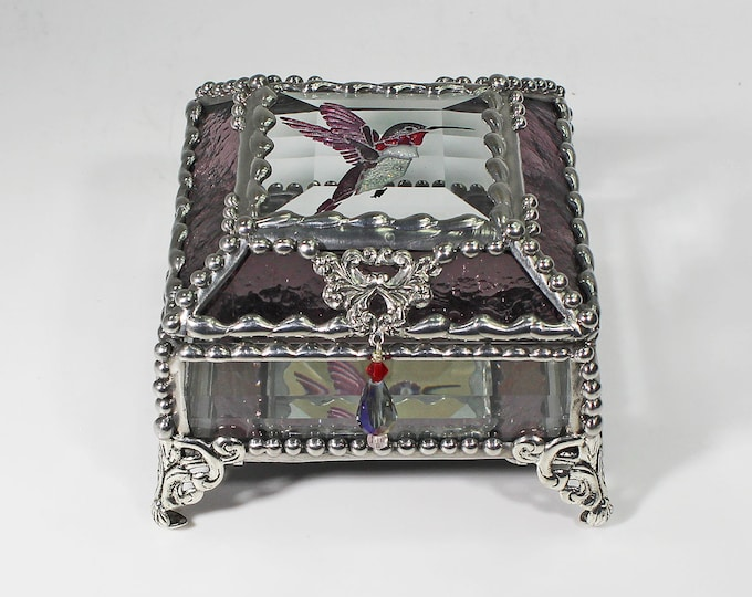 Hummingbird, Jewelry Box, Treasure Box, Gift Box, Trinket Box, Faberge Style, Hand Painted