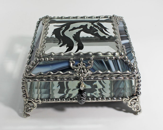 Horse - Stained Glass Box, Treasure Box, Trinket Box, APHA, Paint Horse, Pinto