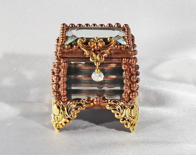 Fairy Box, Glass Jewel, Stained Glass Box, Wedding Ring Box, Engagement Ring Box