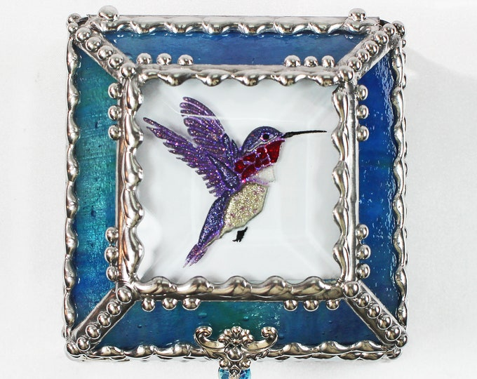 Featured listing image: Etched Hand Painted Hummingbird - Treasure Box
