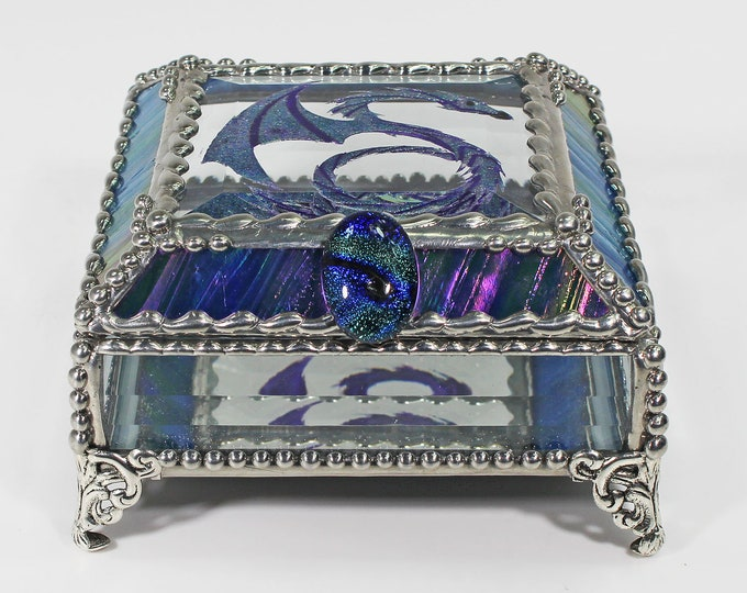 Celtic Dragon Glass Jewelry Box, Hand Painted, Trinket Box, Faberge Style, Gift Box, Glass Box
