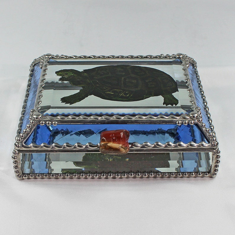 Keepsake Box,Jewelry Box Turtle Stained Glass Treasure Box Faberge Style Hand Painted