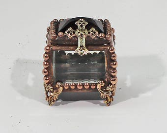 Fairy Box, Vintage, Glass Jewel, Stained Glass Box, Crucifix, cross