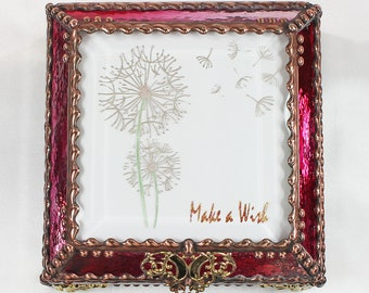 Dandylion Make a Wish Carved Glass Jewelry Box -  Faberge Style