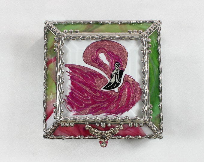 Featured listing image: Flamingo, Hand Painted, Stained Glass Box, Trinket Box, Etched, Faberge Style