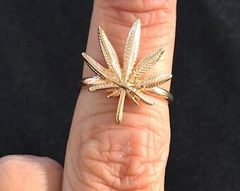 Cannabis Flower Leaf Ring