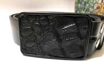 Black Alligator Skin Belt Buckle-Rectangular