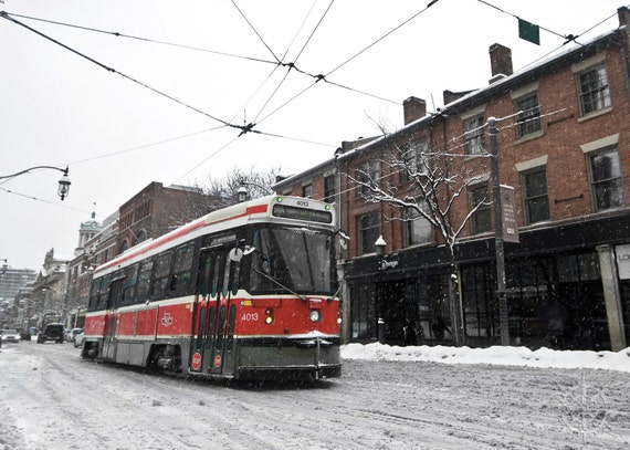 Ttc 504 Streetcar Snowy Toronto Streets Canada Travel Photography Urban Art Red Rocket Black White Red Winter Queen St West