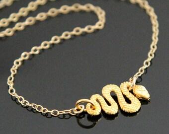 Gold SNAKE Necklace, Gold Filled and 24K Gold Vermeil, Serpent Necklace, Snake Pendant.