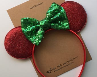 mouse inspired minnie ears green 4 inch bow holiday christmas minnie smaller ears