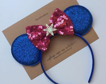 Ice Princess Sister Mouse Ice Princess and sister sequin bow Elsa and anna inspired smaller ears***