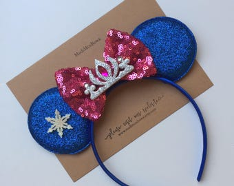 Ice Princess Sister Mouse Ice Princess and sister sequin bow Elsa and anna inspired